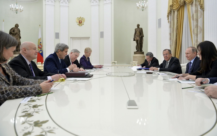 U.S. Secretary of State Kerry and U.S. Ambassador in Russia Tefft attend meeting with Russian president Putin and Foreign Minister Lavrov at Kremlin in Moscow